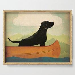 Black Lab Labrador Retriever Dog Canoe Ride Serving Tray