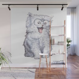 A cat with glasses Wall Mural