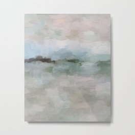 Sage Green Sky Blue Blush Pink Abstract Nature Sunrise Reflection Wall Art Painting Land Sky Earth Metal Print
