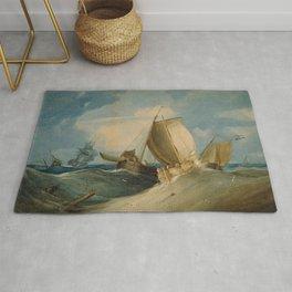 Rough Weather, Dutch and English Fishing Boats, 1805 by Samuel Owen Rug