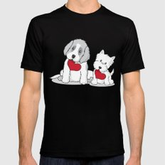 Valentine's Day Dogs Black X-LARGE Mens Fitted Tee
