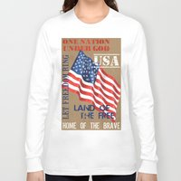 patriotic Long Sleeve T-shirts featuring Patriotic Text by Debbie DeWitt