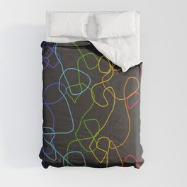 Dark Classic Freehand Abstract Minimal Retro Style Crooked Lines Comforters