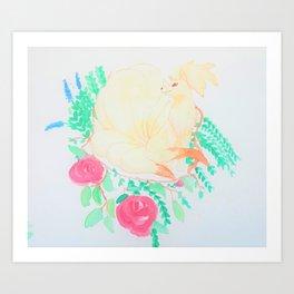 Ninetails watercolor Art Print