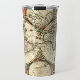 Old map of world (both hemispheres) Travel Mug