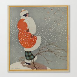 Vintage Christmas Lady in Blowing Snow (1914) Canvas Print