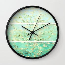 Vincent Van Gogh Almond Blossoms Panel art Aqua Green Wall Clock