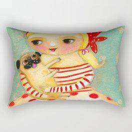 Babushka with pug dog Rectangular Pillow
