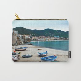 Boats on Beach at Cefalu Italy Carry-All Pouch