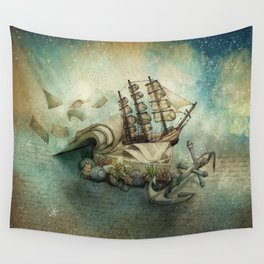 Now I lay me down to read, i travel leagues before i sleep Wall Tapestry