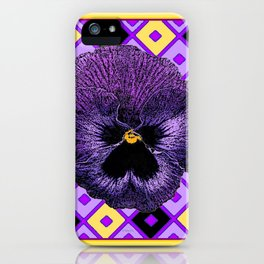 Yellow & Purple Checkered Pansy Pattern iPhone Case