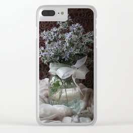 Wild Asters in a Mason Jar Clear iPhone Case