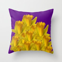 ROYAL PURPLE YELLOW SPRING DAFFODILS Throw Pillow