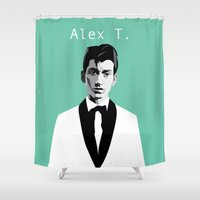 alex turner Shower Curtains featuring Arctic Monkeys, Alex Turner by Morgane Dagorne