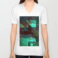 discount V-neck T-shirts featuring Emerald Nebulæ  by Aaron Carberry