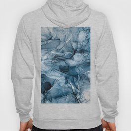Churning Blue Ocean Waves Abstract Painting Hoody