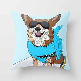 Corgi Dog Surfer Throw Pillow