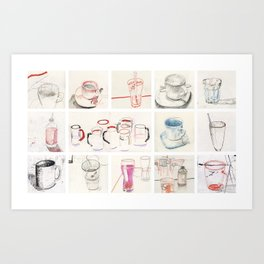 Drinks and cups Art Print