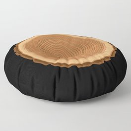 Tree cutout with annual rings wood drawing Floor Pillow