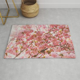 Beautiful Bundles Of Pink Cherry Blossoms In Full Bloom Japanese Sensibility Rug