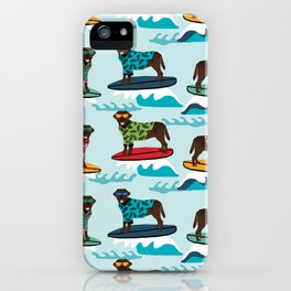 Chocolate Labrador surfing dog breed pattern iPhone Case