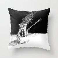 arabic Throw Pillows featuring Arabic Coffee by Camille Gilbert