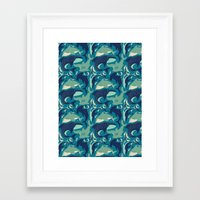 sharks Framed Art Prints featuring Sharks by Dani Tea