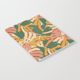 Monstera Leaves - Gold - Green - Pink Notebook