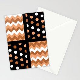 Black/Two-Tone Burnt Orange/White Chevron/Polkadot Stationery Cards
