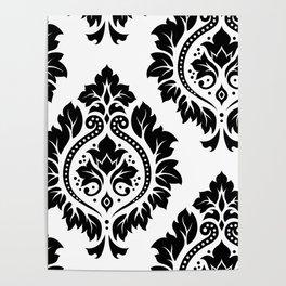 Decorative Damask Art I Black on White Poster