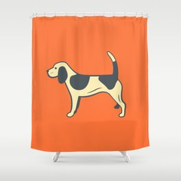 Orange Beagle Shower Curtain