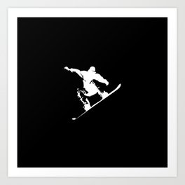 Snowboarding White Abstract Snow Boarder On Black Art Print