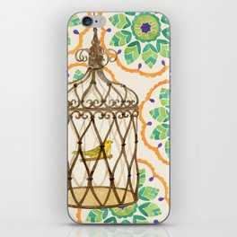 Bird in cage on Pattern by Sandy Thomson iPhone Skin