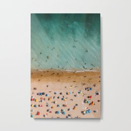 People On Algarve Beach In Portugal, Drone Photography, Aerial Photo, Ocean Wall Art Print Metal Print