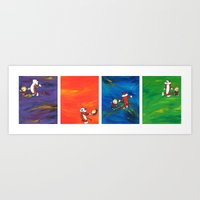 hobbes Art Prints featuring Calvin & Hobbes dancing series by Always Add Color