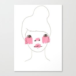 Line Drawing of a Girl in Neon  Canvas Print
