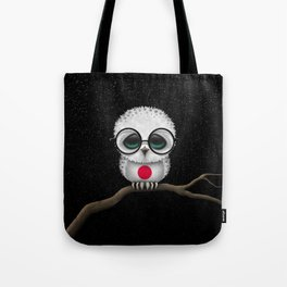 Baby Owl with Glasses and Japanese Flag Tote Bag