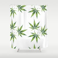 marijuana Shower Curtains featuring Marijuana Leaves  by Limitless Design