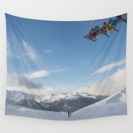 Skiers on chairlift 2 Wall Tapestry