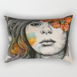 Softly Spoken Agony | flower girl pencil portrait Rectangular Pillow
