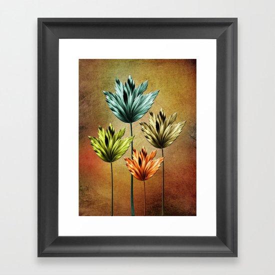 Four Fractal Flowers Framed Art Print