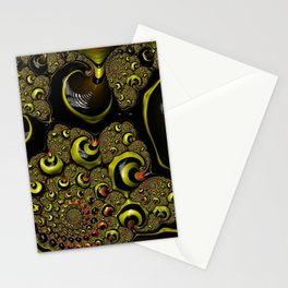 Down The Rabbit Hole Bumble Bee Yellow Black Funky Zebra Stripe Abstract Swirl Fractal Art Design Stationery Cards
