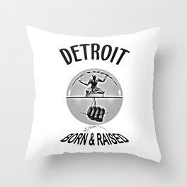 Detroit - Born & Raised - Dark Throw Pillow