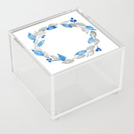 Blue and Gray Watercolor Leaf Wreath Acrylic Box