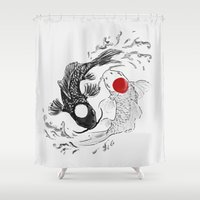 ying yang Shower Curtains featuring Koi fish ying yang by Maioriz Home