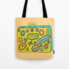 Let's Travel Retro Suitecase Tote Bag