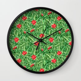 Holly Jolly Christmas Leaves & Berries (Small Pattern) Wall Clock