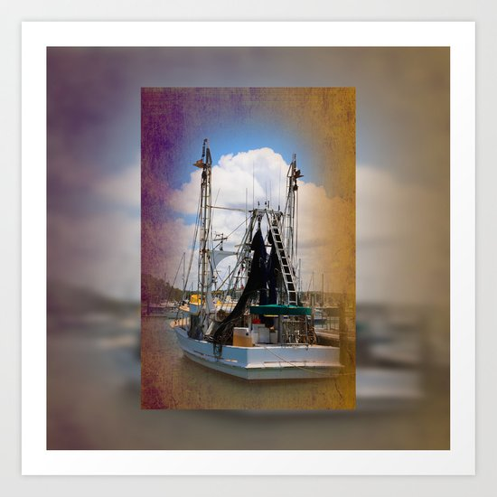 Moored boat on a river Art Print