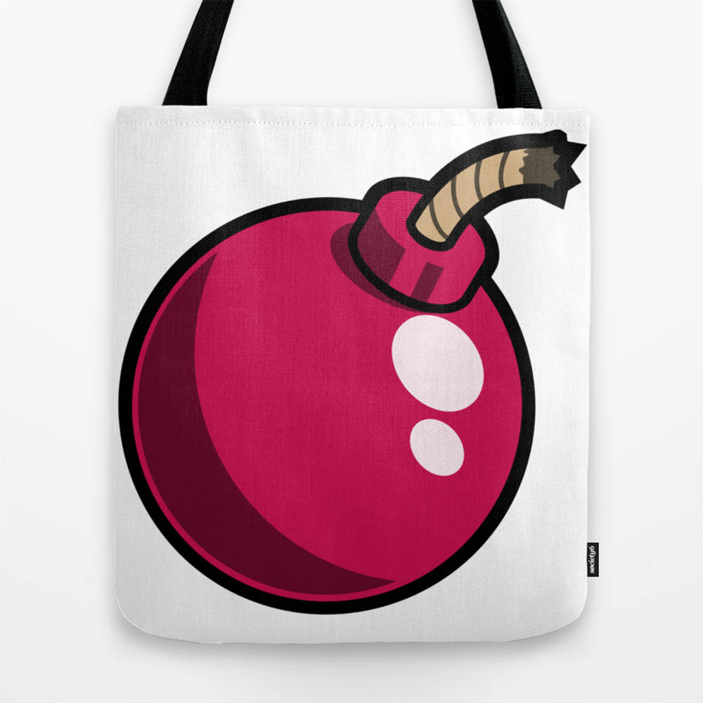 Pink Cartoon Bomb Icon Tote Bag by Azza1070 TBG9032782