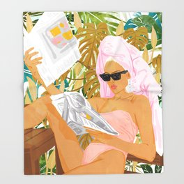 Vacay News #illustration #painting Throw Blanket